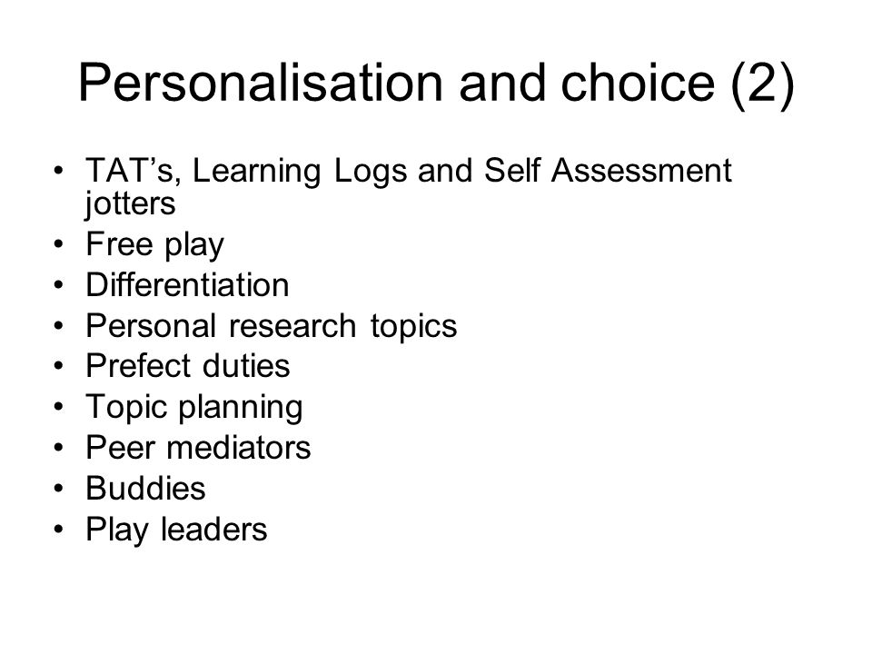 Personalisation and choice (2)