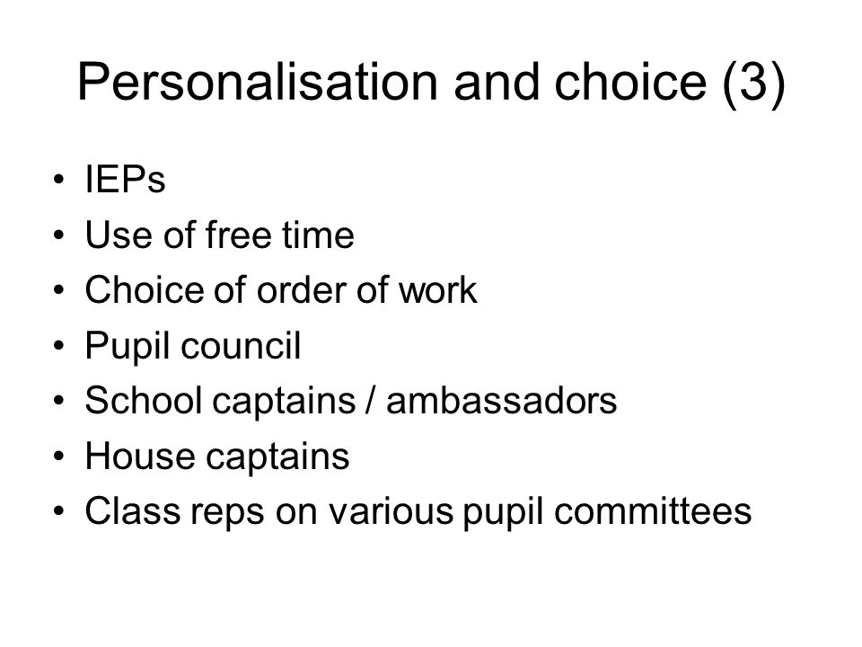 Personalisation and choice (3)