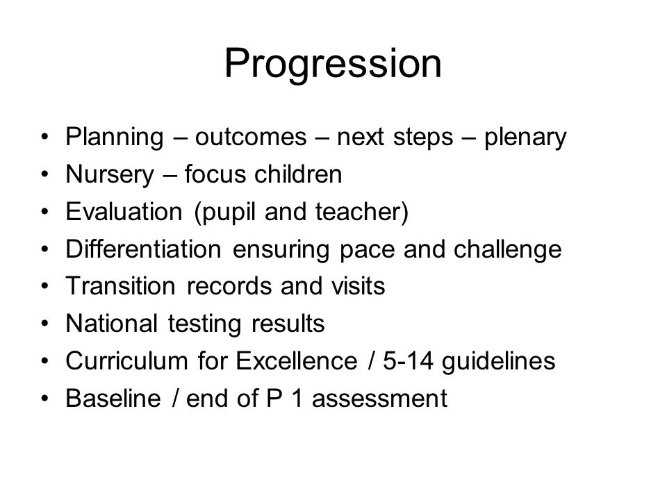 Progression Planning – outcomes – next steps – plenary