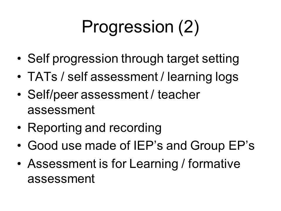 Progression (2) Self progression through target setting