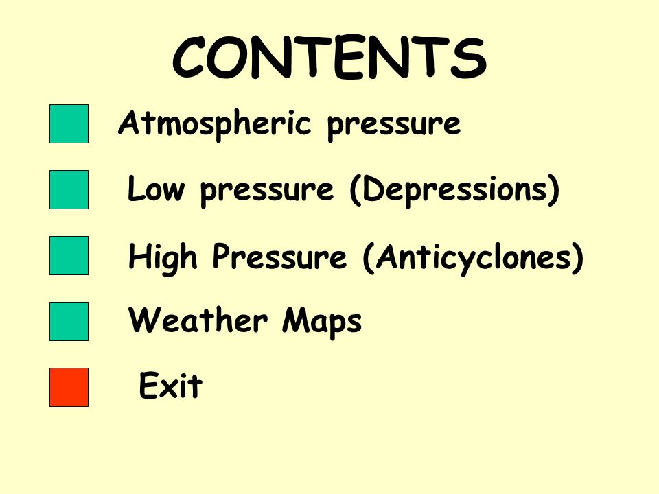 CONTENTS Atmospheric pressure Low pressure (Depressions)