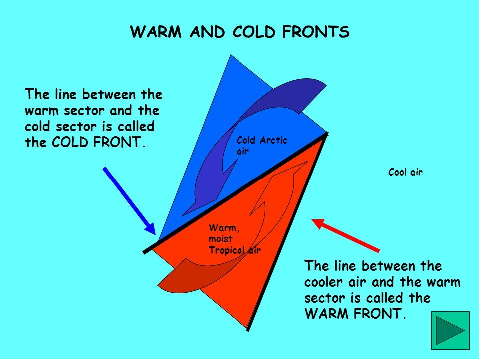 WARM AND COLD FRONTS The line between the warm sector and the cold sector is called the COLD FRONT.