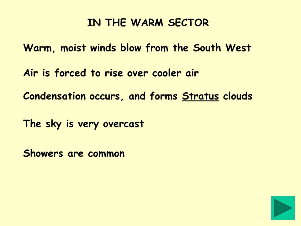 IN THE WARM SECTOR Warm, moist winds blow from the South West. Air is forced to rise over cooler air.