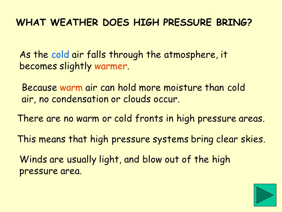 WHAT WEATHER DOES HIGH PRESSURE BRING
