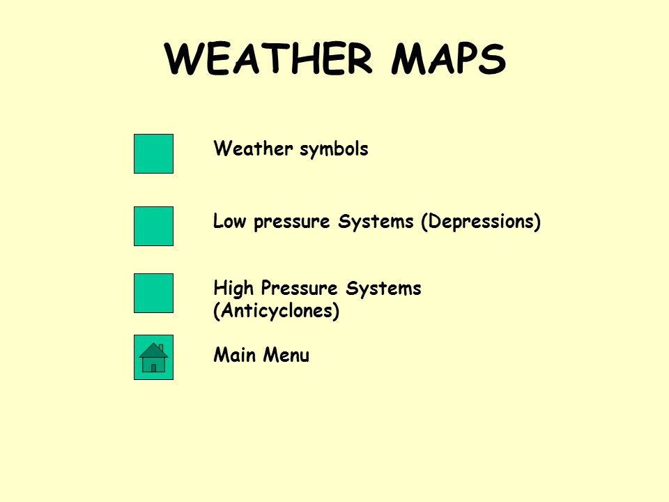 WEATHER MAPS Weather symbols Low pressure Systems (Depressions)
