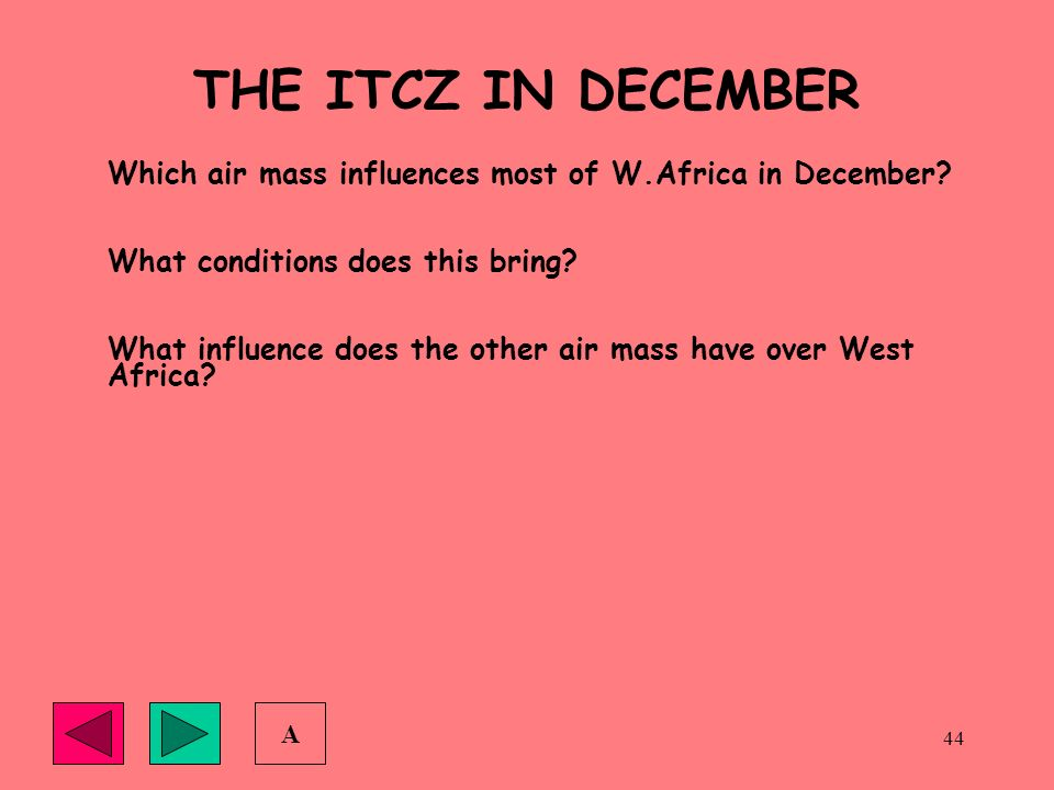 THE ITCZ IN DECEMBER Which air mass influences most of W.Africa in December What conditions does this bring