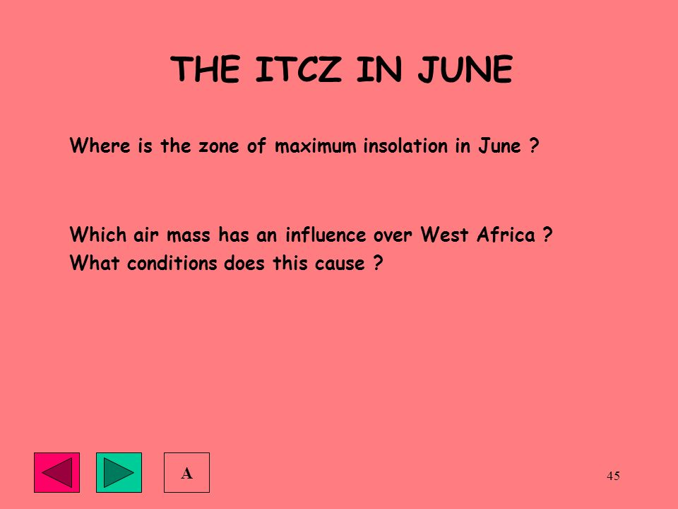 THE ITCZ IN JUNE Where is the zone of maximum insolation in June