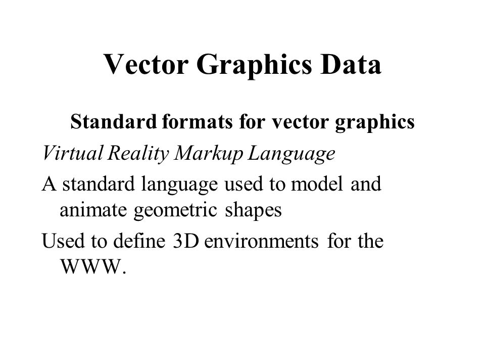 Standard formats for vector graphics