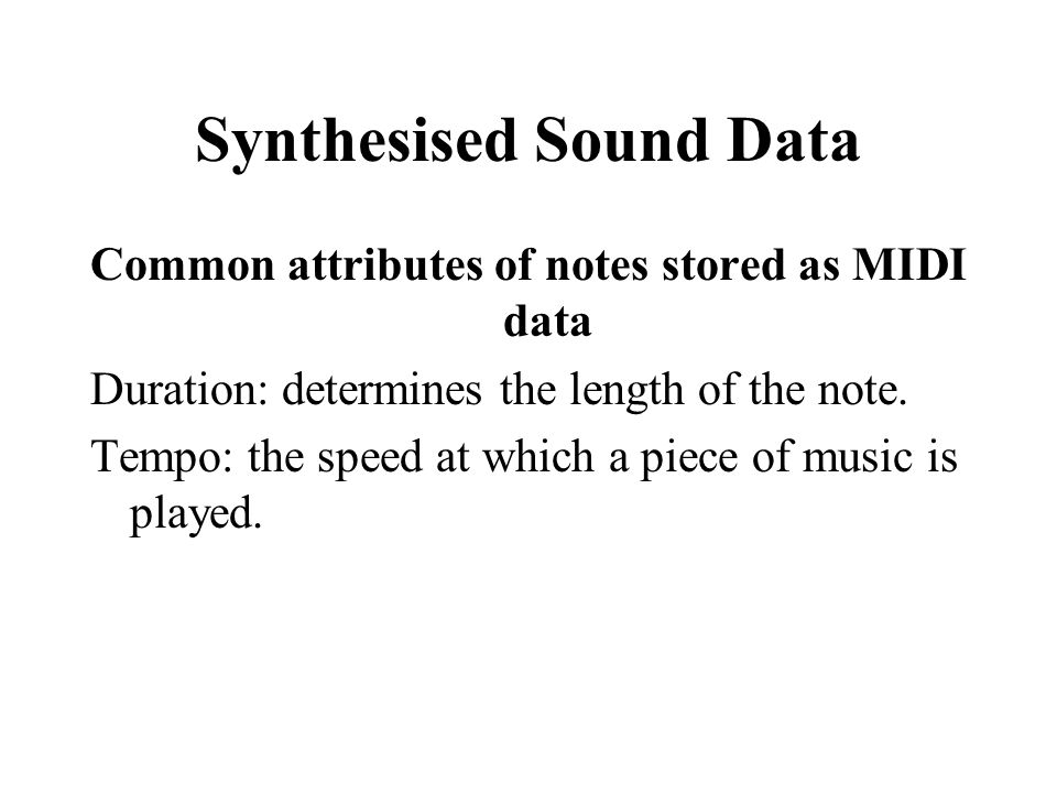 Synthesised Sound Data