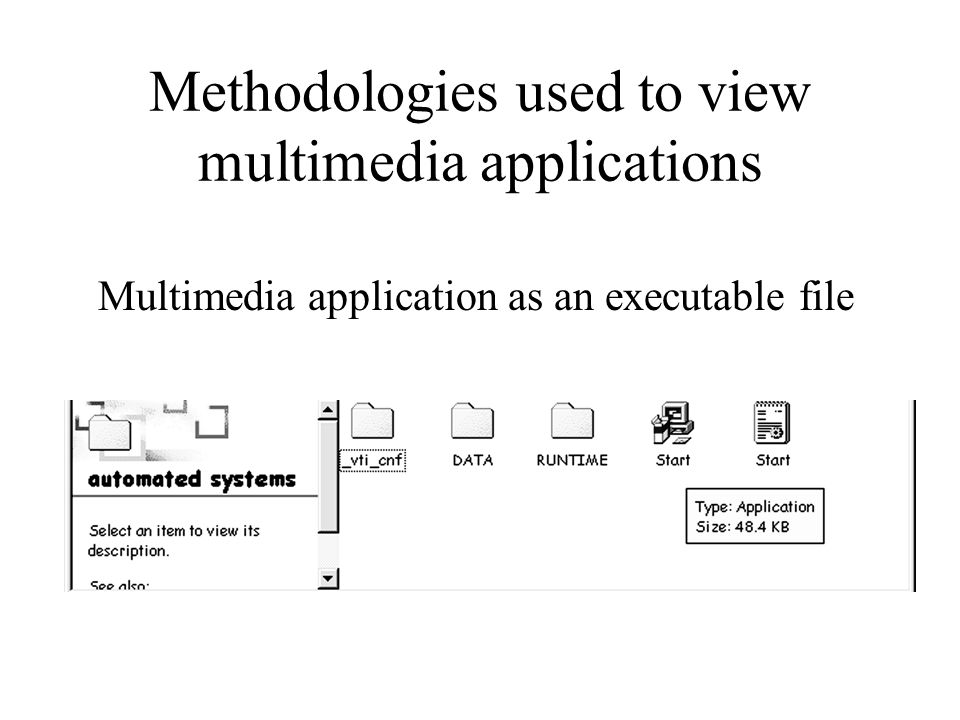 Methodologies used to view multimedia applications