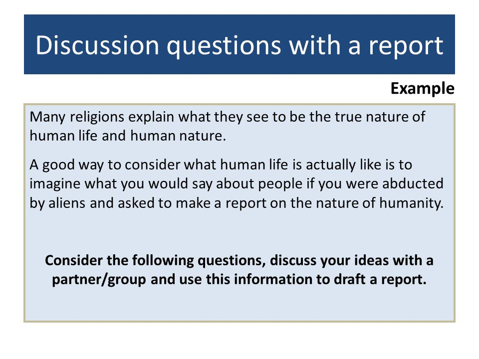 Discussion questions with a report
