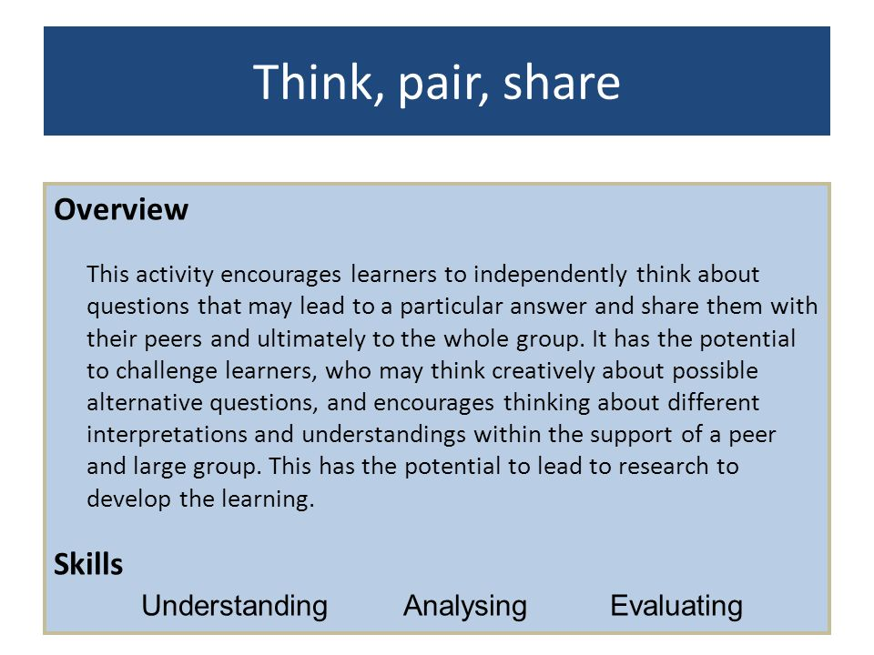 Think, pair, share Overview Skills Understanding Analysing Evaluating