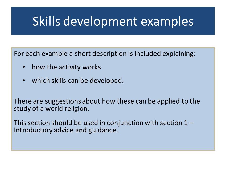 Skills development examples