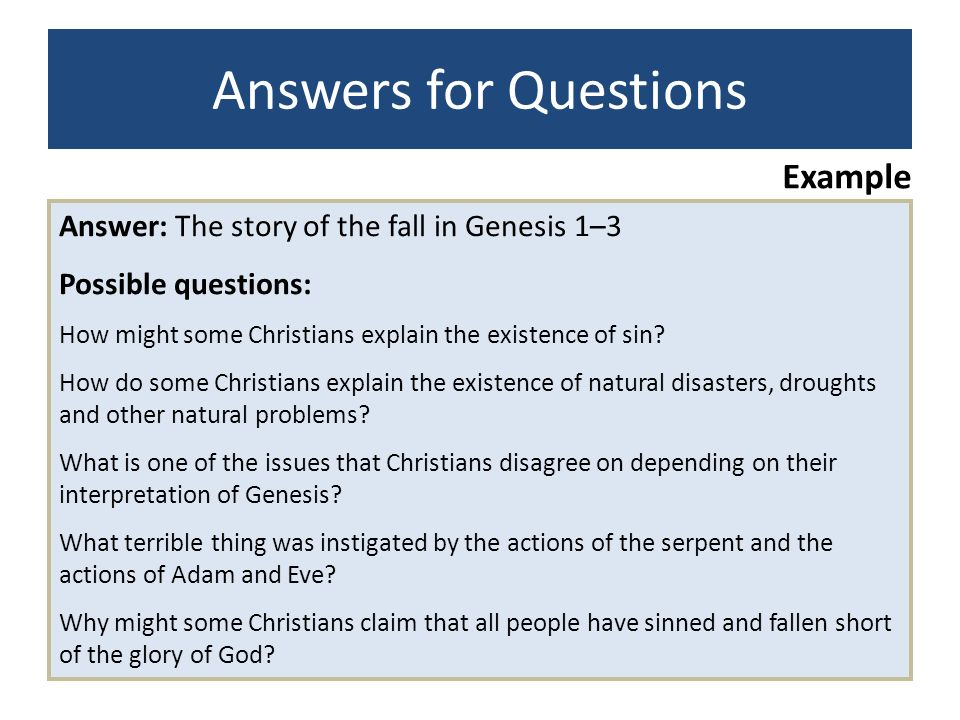 Answers for Questions Example