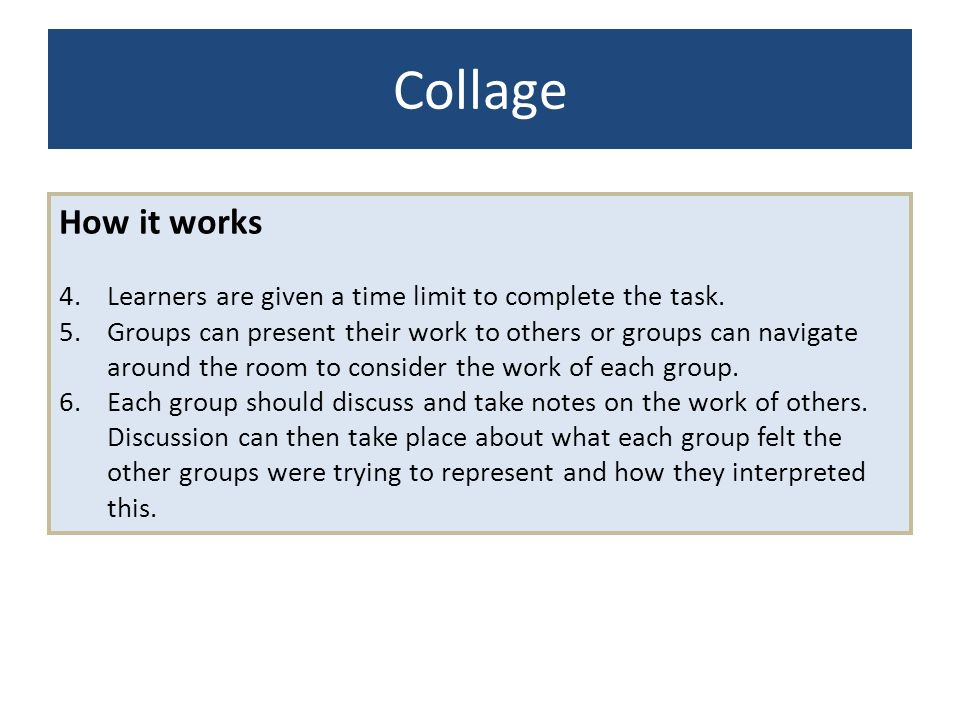 Collage How it works. Learners are given a time limit to complete the task.