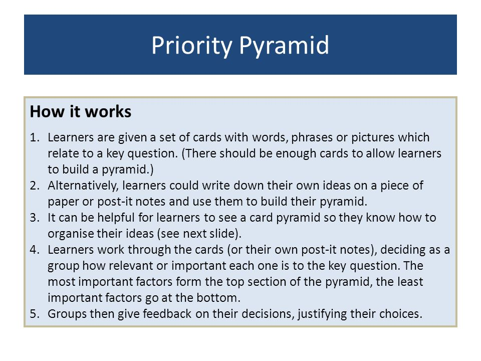 Priority Pyramid How it works