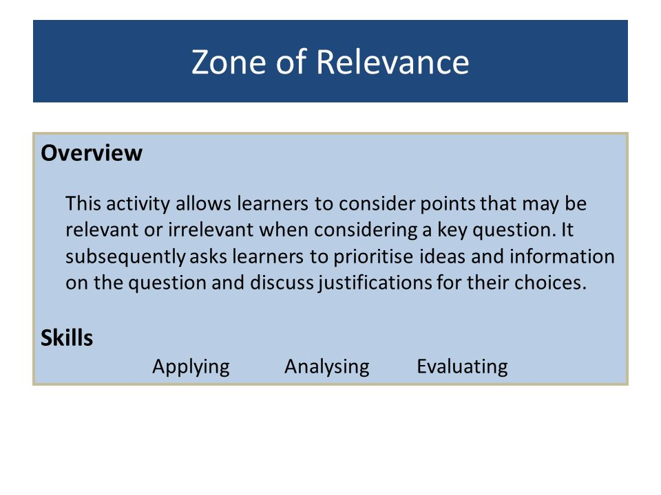 Applying Analysing Evaluating