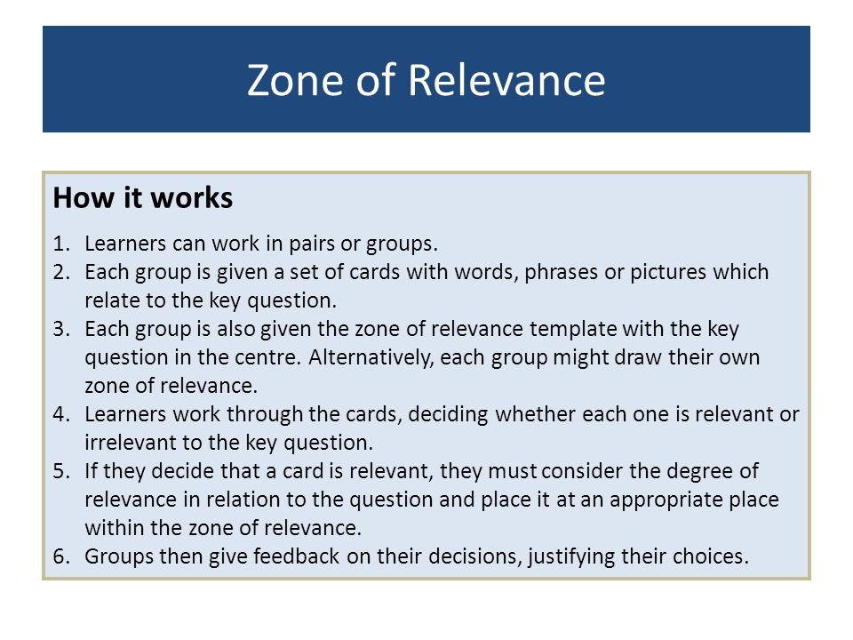 Zone of Relevance How it works Learners can work in pairs or groups.