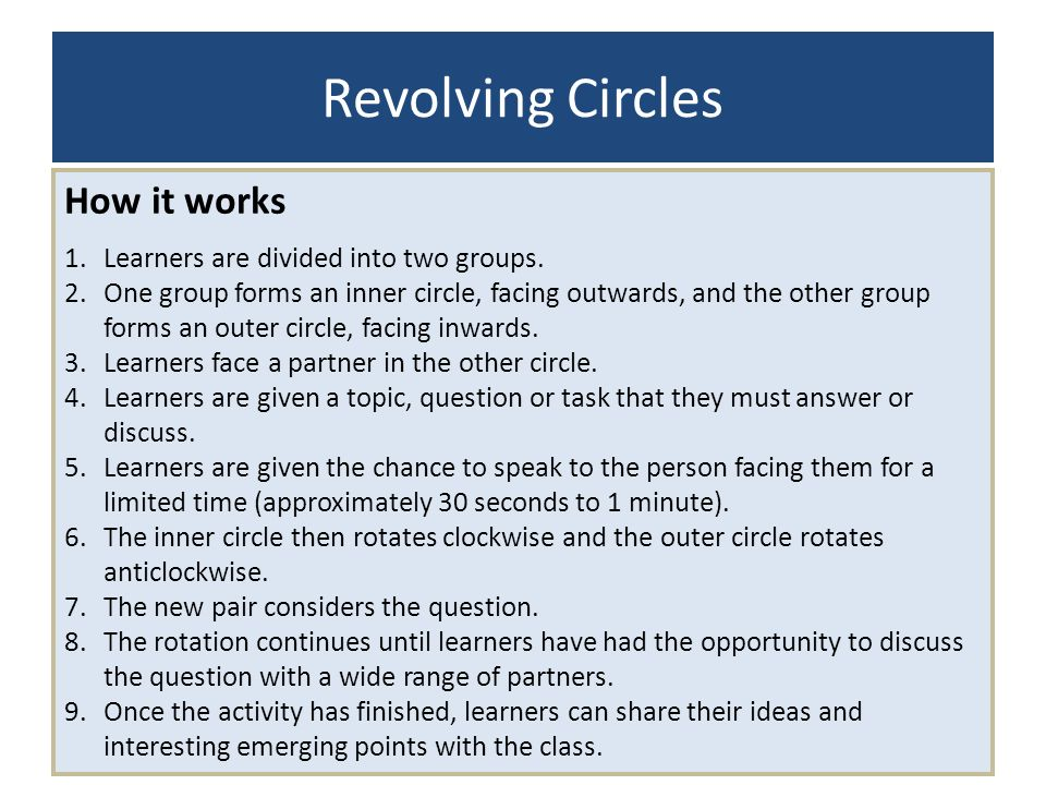 Revolving Circles How it works Learners are divided into two groups.