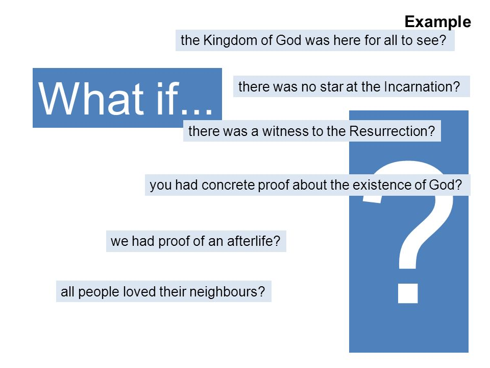 What if... Example the Kingdom of God was here for all to see