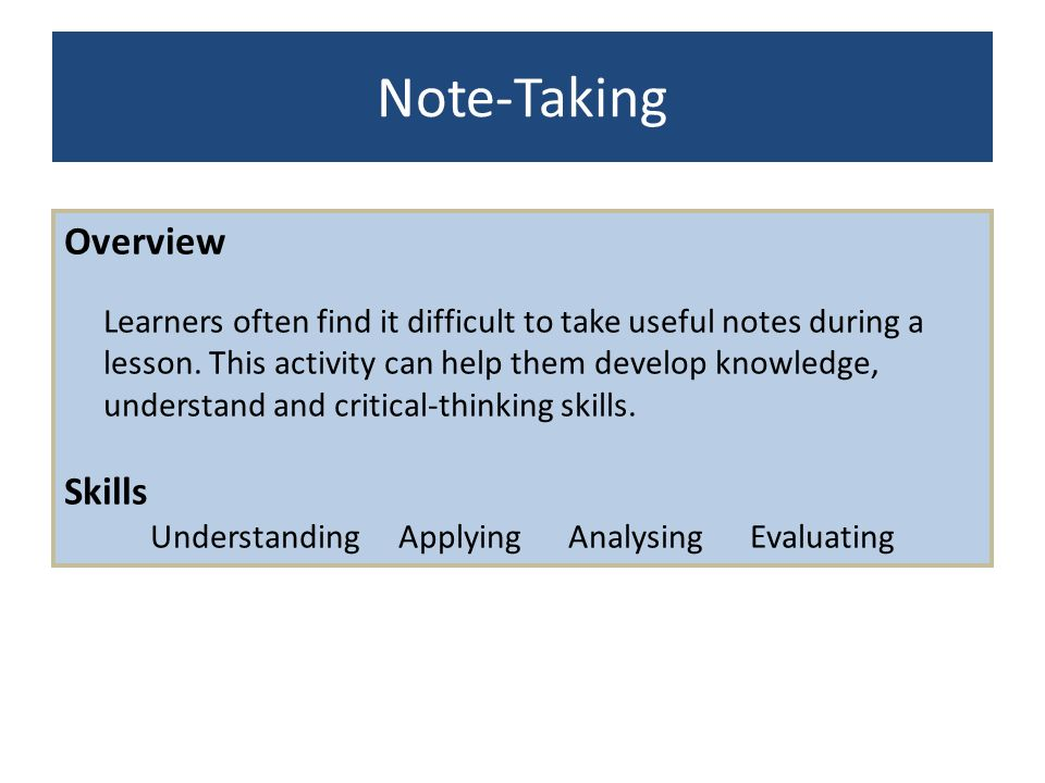 Understanding Applying Analysing Evaluating