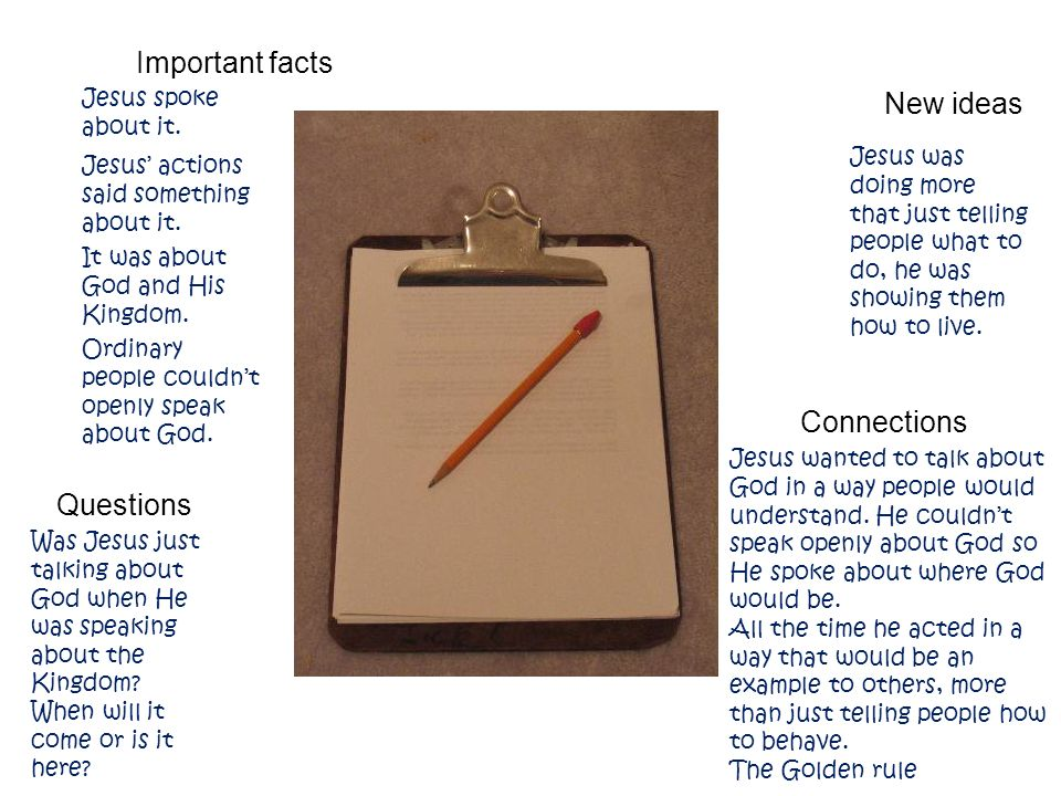 Example Important facts New ideas Jesus and the Kingdom of God