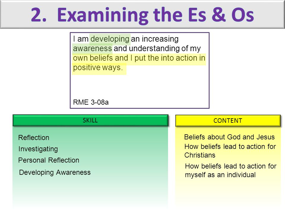 2. Examining the Es & Os I am developing an increasing awareness and understanding of my own beliefs and I put the into action in positive ways.