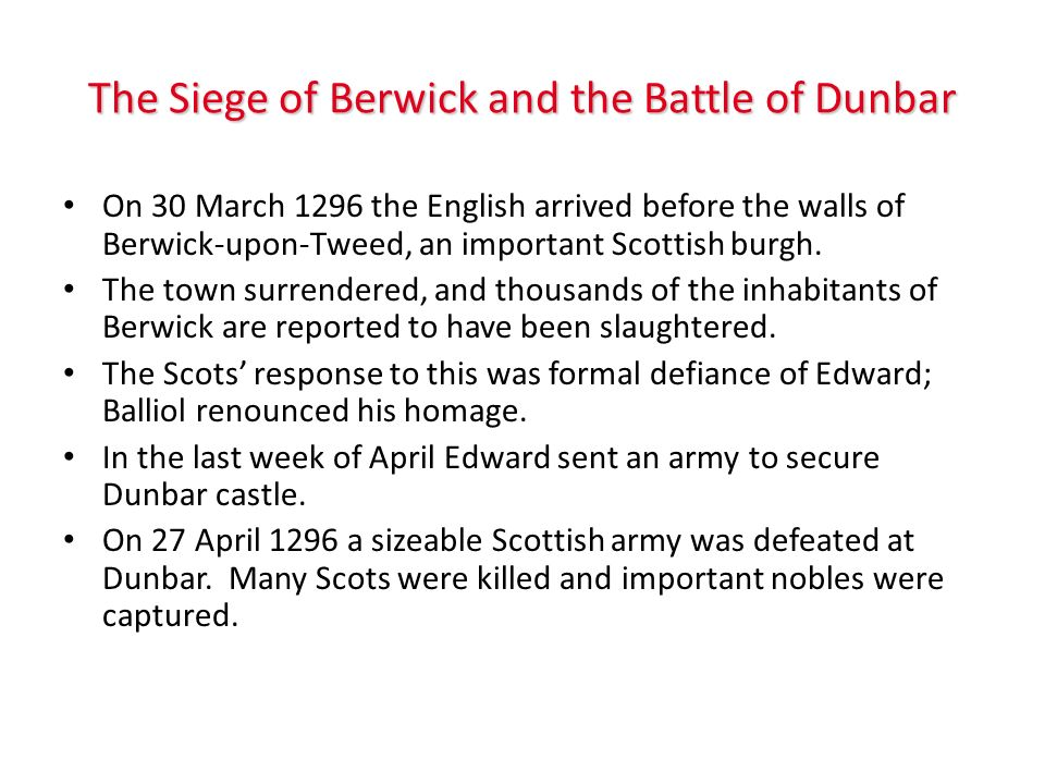 The Siege of Berwick and the Battle of Dunbar