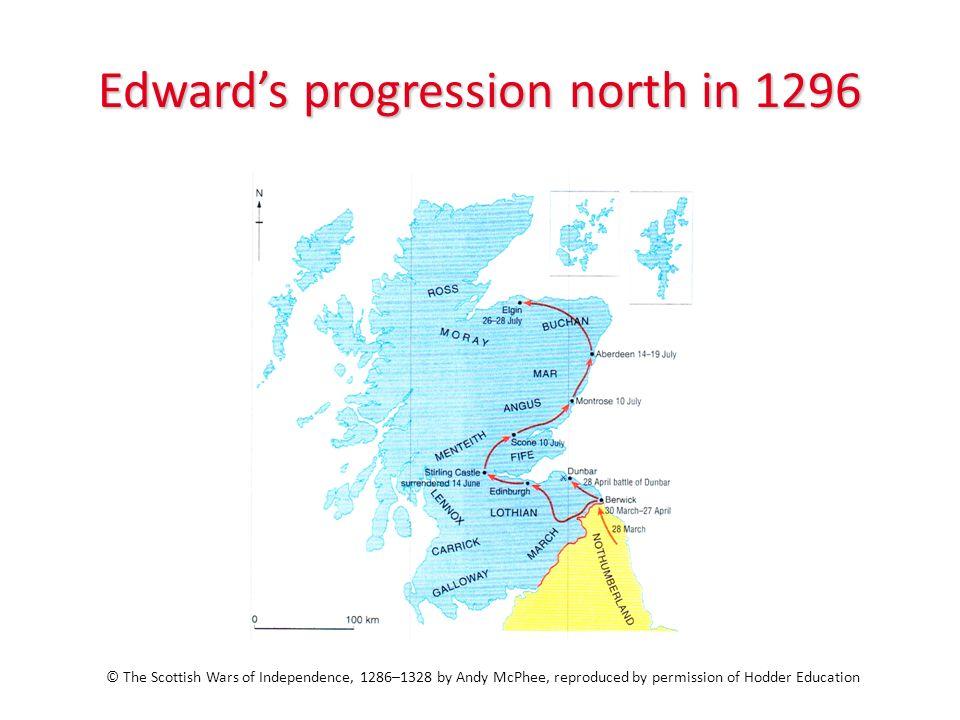 Edward's progression north in 1296