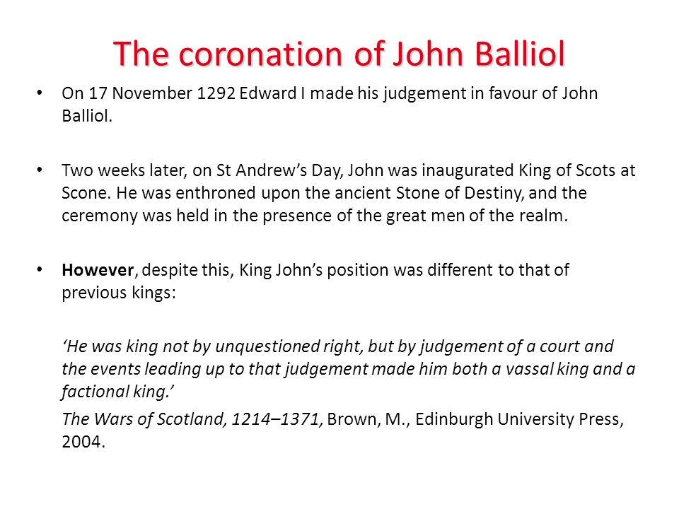The coronation of John Balliol