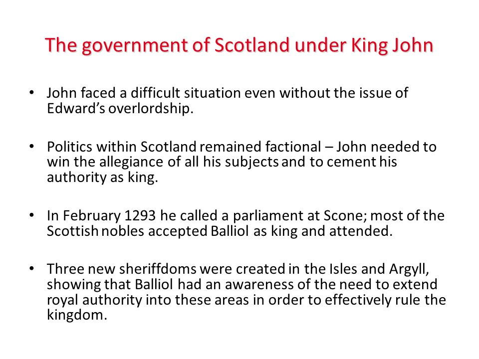 The government of Scotland under King John