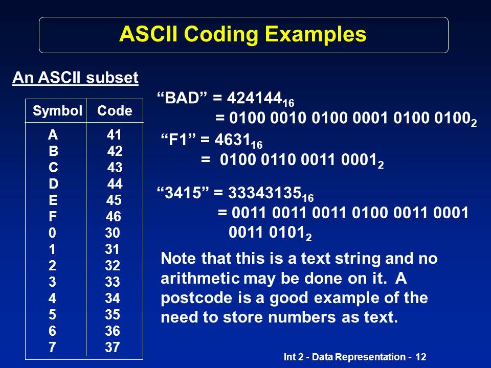 ASCII Coding Examples An ASCII subset BAD = 42414416