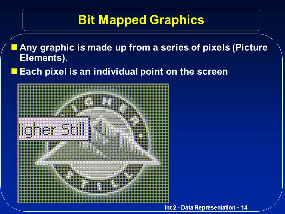 Bit Mapped Graphics Any graphic is made up from a series of pixels (Picture Elements).