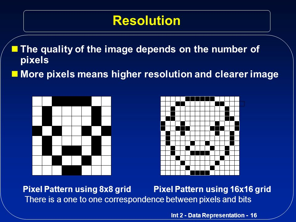 Resolution The quality of the image depends on the number of pixels