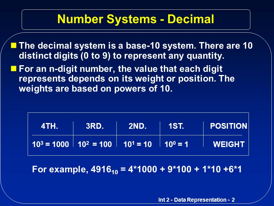 Number Systems - Decimal