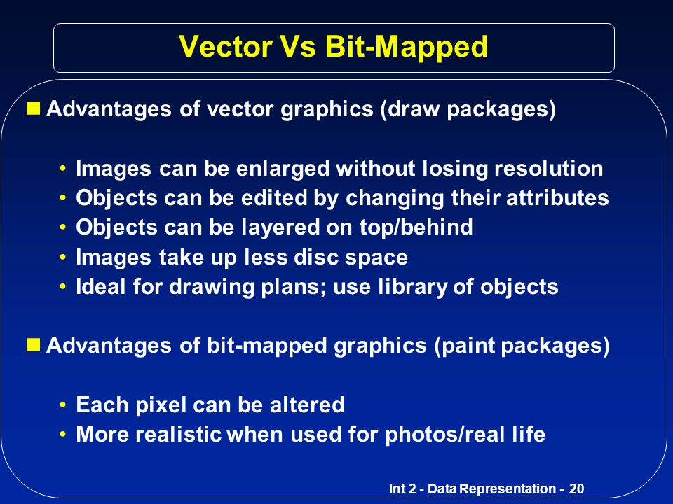 Vector Vs Bit-Mapped Advantages of vector graphics (draw packages)
