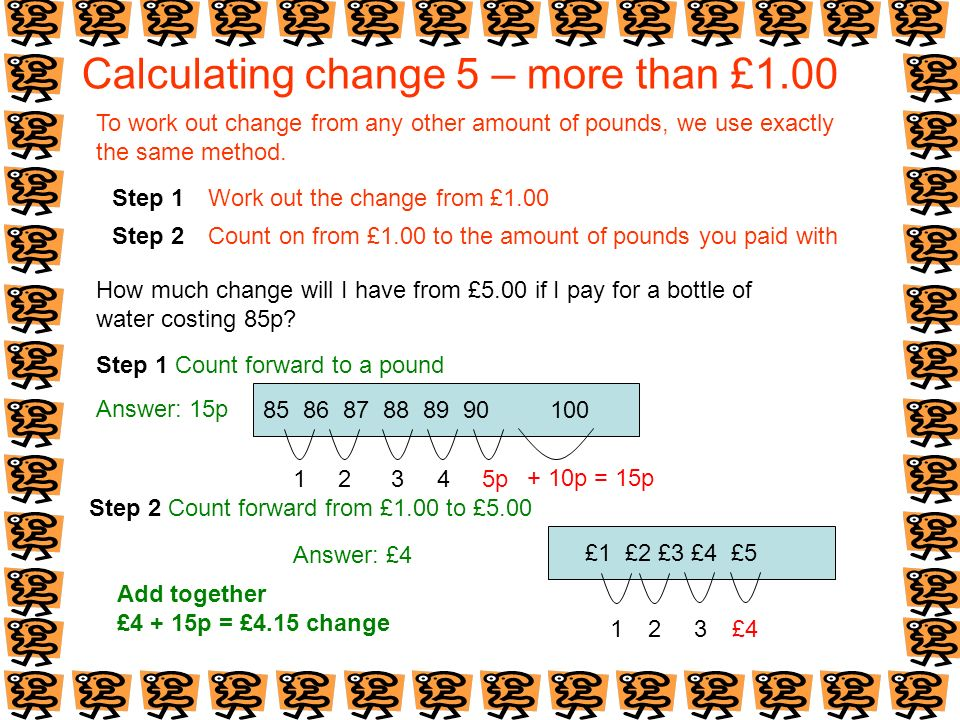 Calculating change 5 – more than £1.00