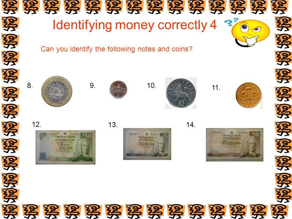 Identifying money correctly 4