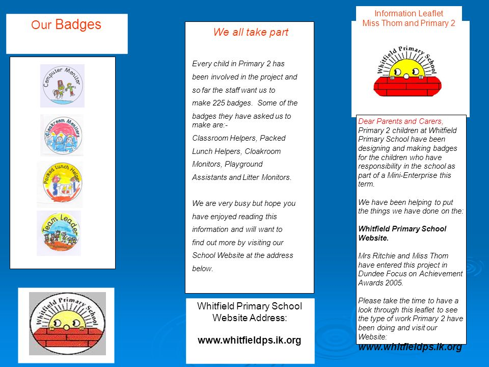 Whitfield Primary School Website Address: