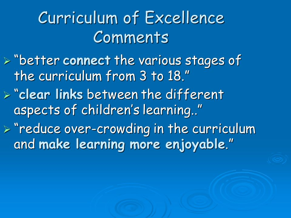 Curriculum of Excellence Comments