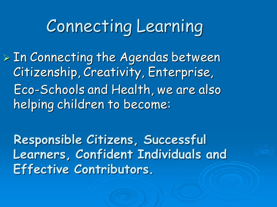 Connecting Learning In Connecting the Agendas between Citizenship, Creativity, Enterprise,