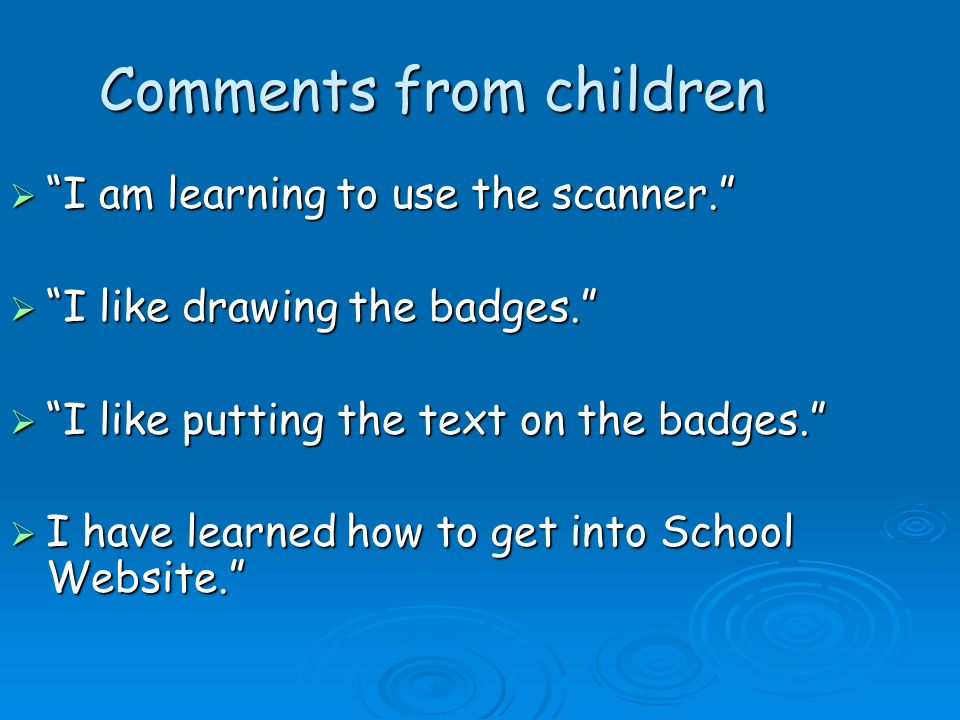 Comments from children