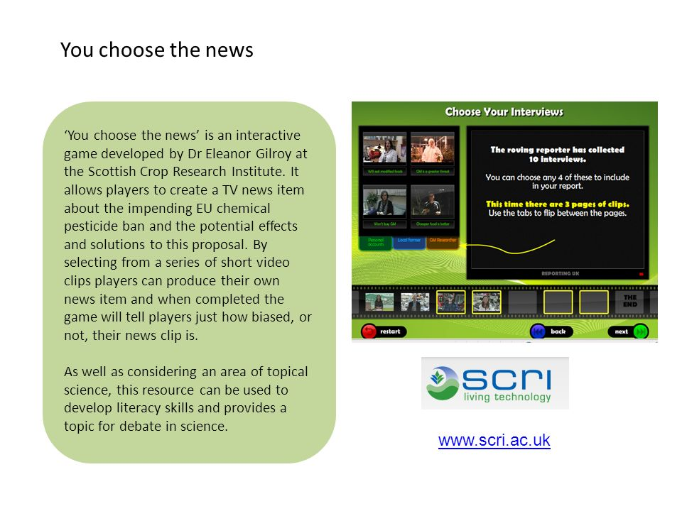 You choose the news www.scri.ac.uk