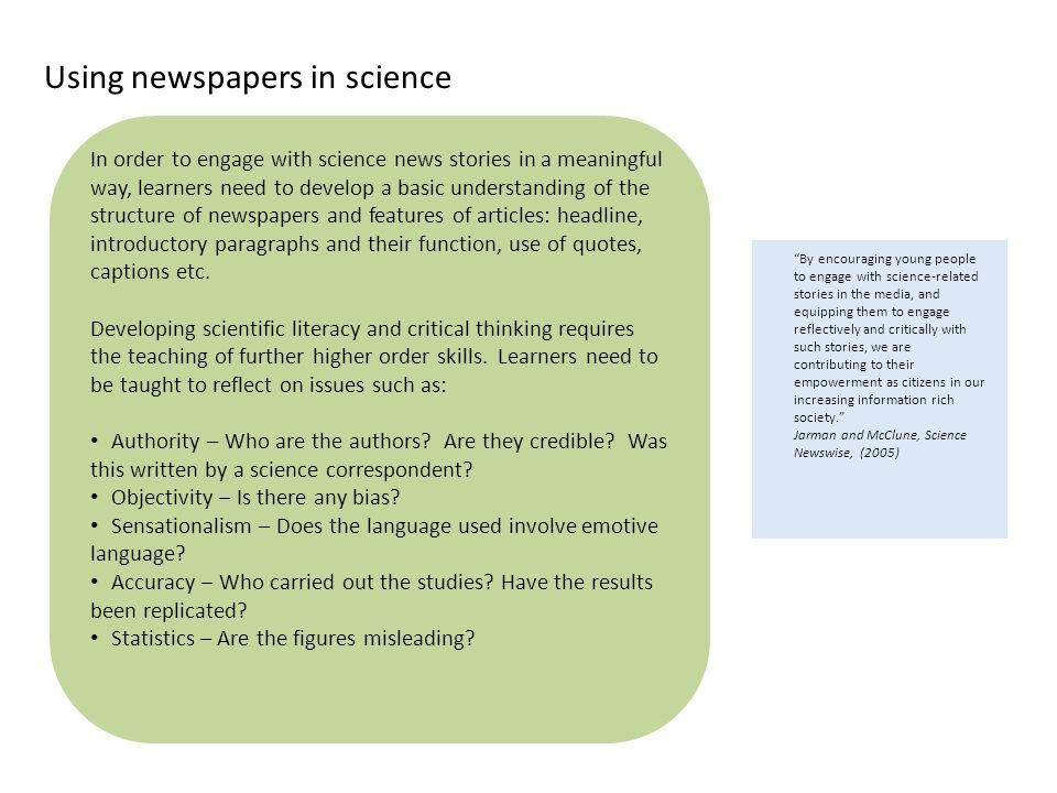 Using newspapers in science