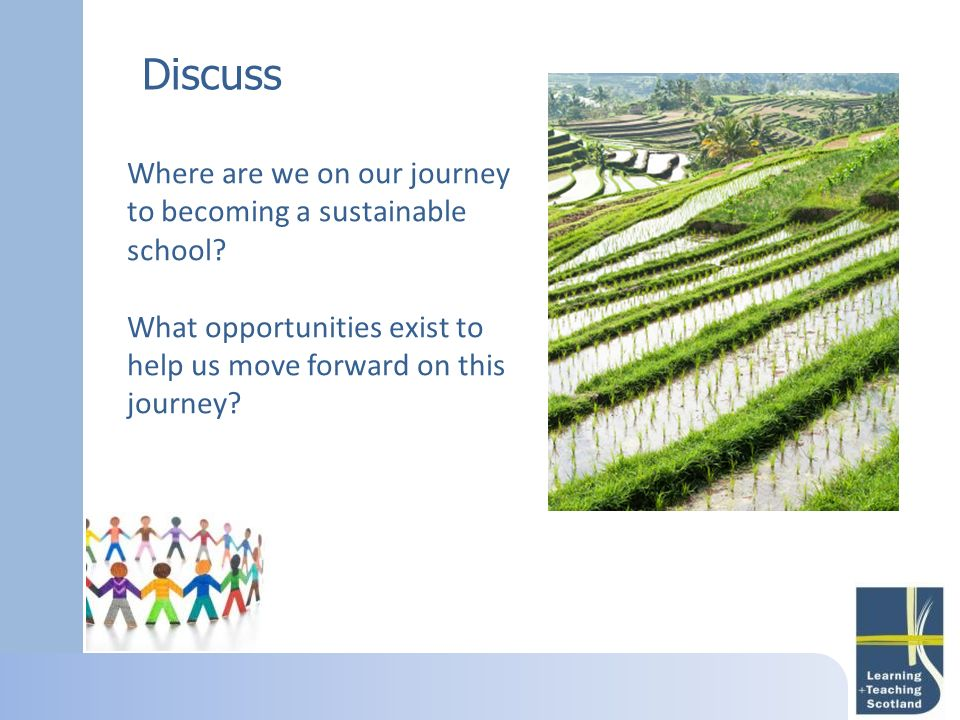 Discuss Where are we on our journey to becoming a sustainable school