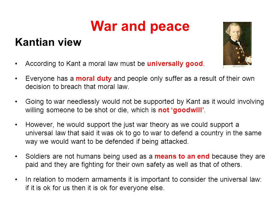 War and peace Kantian view