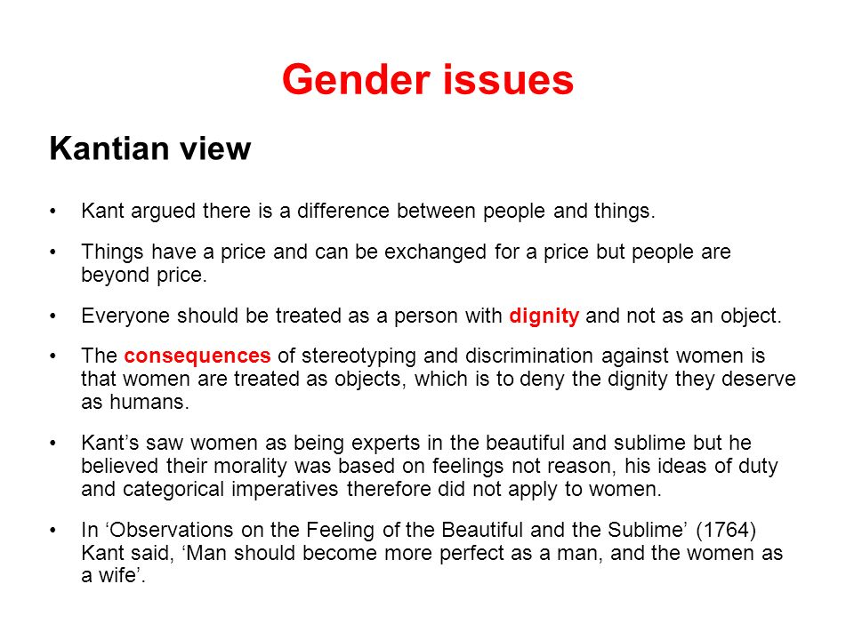 Gender issues Kantian view