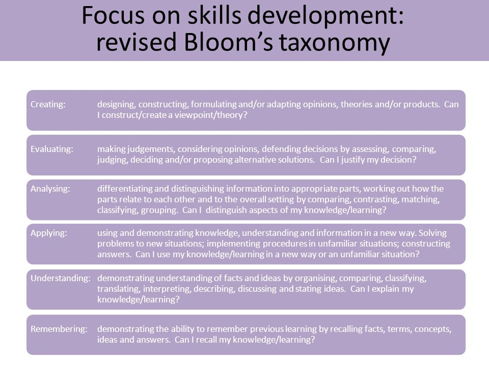 Focus on skills development: revised Bloom's taxonomy