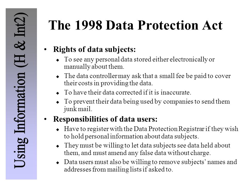 The 1998 Data Protection Act