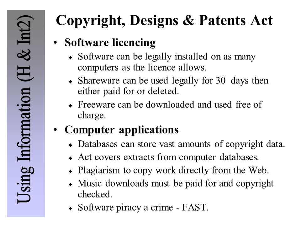 Copyright, Designs & Patents Act